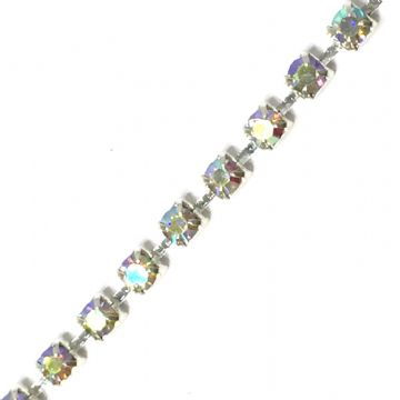 wc165  2mm Clear AB rhinestone silver colour diamante chain -- 1 meter